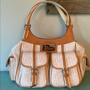 Dior Monogram Trotter Ivory Canvas Hobo Bag